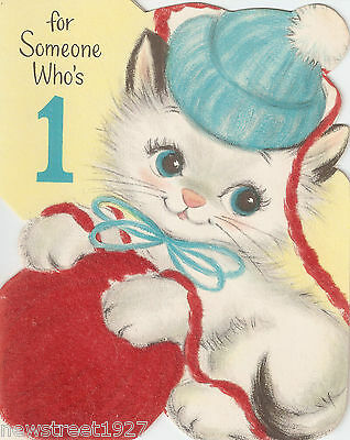 Vintage Canadian Coutts Hallmark Birthday Card Kitten and Ball of Wool ca 1958