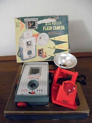 Vintage Imperial 127 Reflex Flash Camera Kit Green~Gray Camera In Original Box