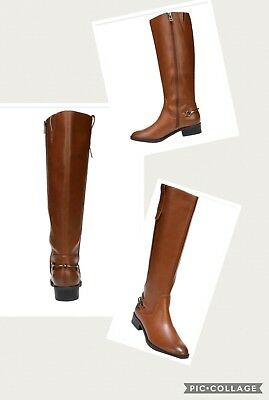 Sam Libby Tall Knee High Riding Boot Faux Leather Full Zipper Low Heel Brown
