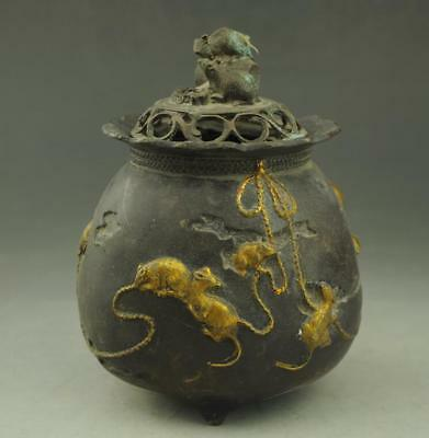 Chinese antique hand engraving copper gild mouse Hollow out pot