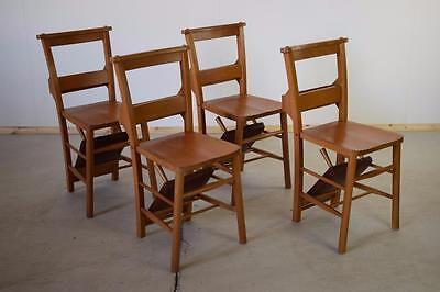 Set Of 4 Vintage Chapel Church Chairs With Kneelers C1950