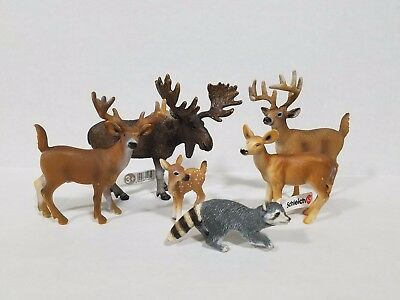 Schleich lot of 6 north American animals raccoon fawn moose deer buck 3 w/tags