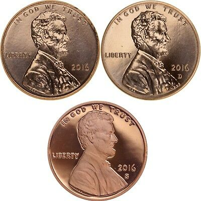2016 P D S Lincoln Shield Cent Year Set Proof & BU US 3 Coin Lot