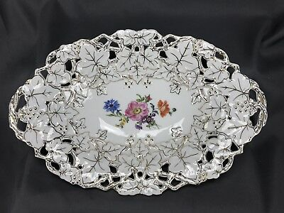 "Meissen German HP Floral & Gold Relief Mold 12 1/2"" Reticulated Serving Bowl"