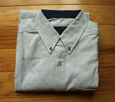 Banff Ice Vodka Fred Wear Embroidered White Blue Pinstripe Button Down Shirt Lar