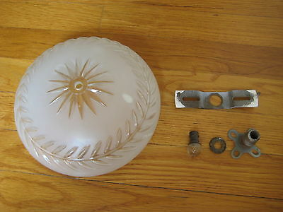 vtg glass Ceiling LIGHT FIXTURE starburst 1930's retro art deco crafts antique