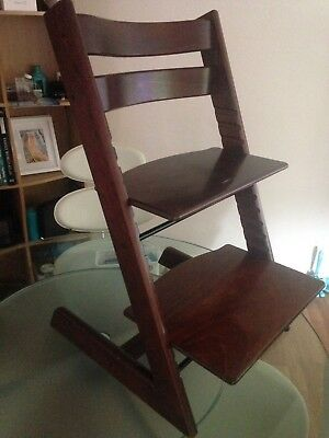 mahogany Dark Wood Stokke Tripp Trapp High Chair Adjustable