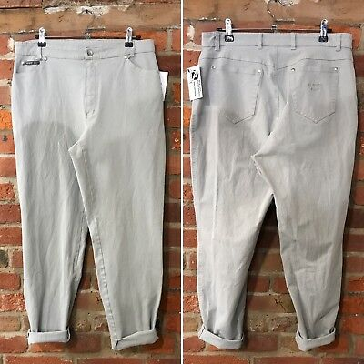 VINTAGE MOM JEANS HIGH WAISTED TAPERED 90s PALE GREY (J91) W32-34 L29 SIZE 14