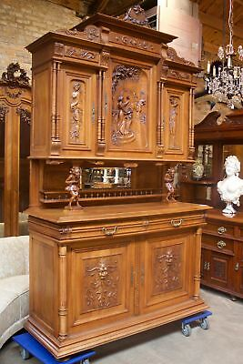 ANTIQUE CARVED WALNUT FRENCH JESTER CABINET ca. 1890