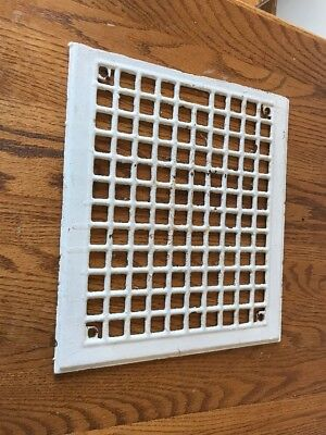 Vintage White Antique Metal Louver Grate Floor Wall Register Heat Vent