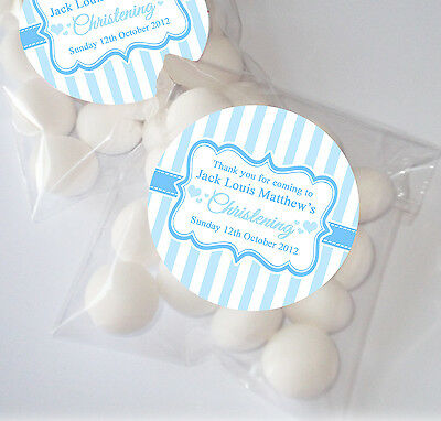 Personalised CHRISTENING BAPTISM table sweet bags favours KITS Stripes Blue x12