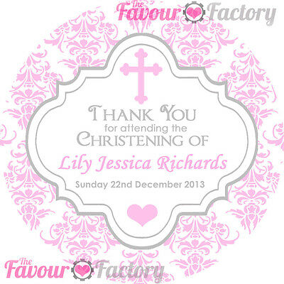 1xA4 sheet Personalised CHRISTENING BAPTISM favours labels STICKERS Damask Pink