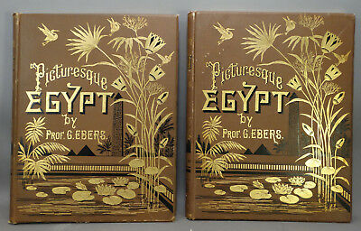 (2) LG 19thC Antique VICTORIAN Era PICTURESQUE EGYPT by PROF G EBERS Print BOOK