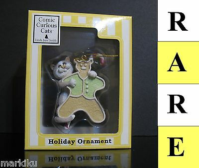 Rare Comic & Curious cat gingerbread Christmas tree ornament Linda Jane Smith