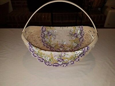 Longaberger 2006 Crocus Basket Easter Combo w/Liner, Protector, and Tie on