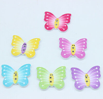 40PC Mixed Wooden Buttons Butterfly 2 Hole Fit Sewing DIY Scrapbook 2.1x2.5cm J1