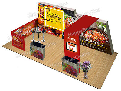 Trade show quick pop-up 20ft x 10ft fabric exhibition booth TV monitor shelves