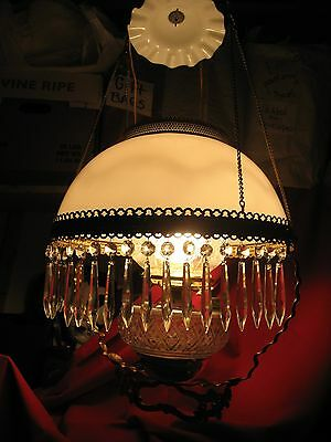 Antique Chandelier/Lamp Kerosene wired Electric Brass/ Milk Glass/ Crystal Prism