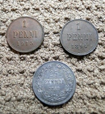 Finland Three Coins: Two 1 Penni And One 25 Pennia