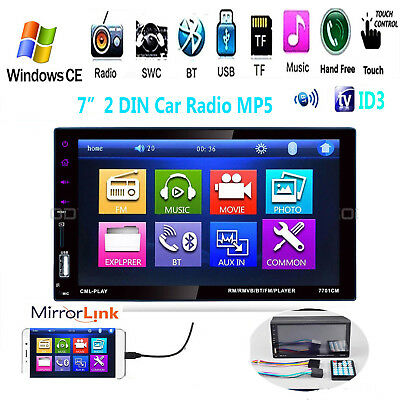 """7"""" 2 Din Touch Screen Car Radio MP5 Player Bluetooth Stereo USB FM Aux Camera"""