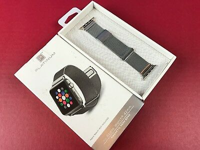 Platinum Magnetic Mesh Band Strap Apple Watch 42mm Series 1 Series 2 Nike Silver