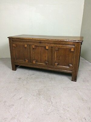Antique Early 19th Century Oak Coffer Blanket Chest With Elm Top