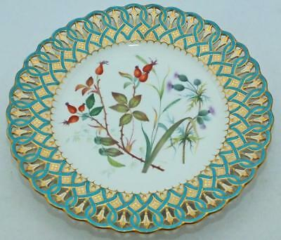 19th C MINTON GILDED RETICULATED HAND PAINTED PLATE c1850 - ROSEHIPS & THISTLES