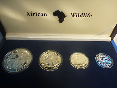 2003 Zambia African Wildlife Elephant Silver Proof Set - RARE only 2000 mintage!