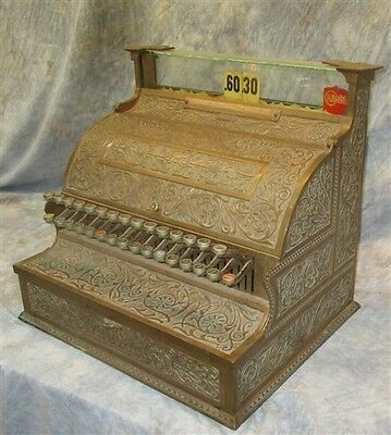 National Cash Register Model 35 NCR Bronze Chicken Scratch 1900 Candy Glass Keys