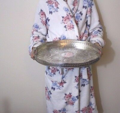 """LARGE 18""""SILVER Plated  GALLERY Tea  Drinks TRAY c1960  46 x 30cm"""