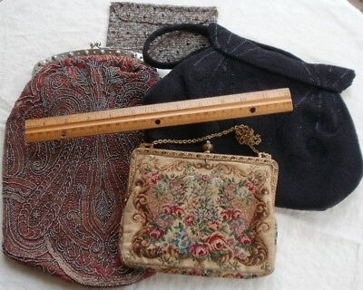 Antique Vintage PURSE LOT Steel Cut Glass BEADED RED Rhinestones FRANCE TLC