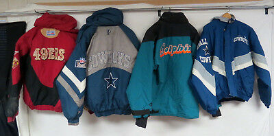 LOT OF 5 VINTAGE 90s NFL PARKAS STARTER PRO PLAYER COWBOYS DOLPHINS 49ers ADULT