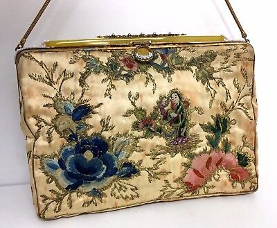 Vintage Chinese Silk And Gold Embroidery Hand Bag & Purse