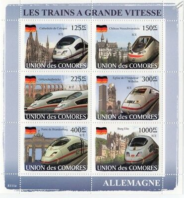 The HIGH SPEED TRAINS of GERMANY (ICE) Railway Stamp Sheet (2008 Comoros)