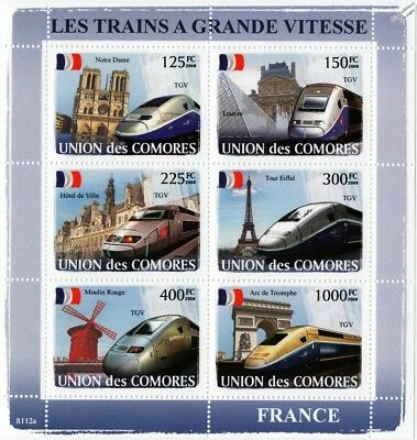The HIGH SPEED TRAINS of FRANCE (TGV) Railway Stamp Sheet (2008 Comoros)