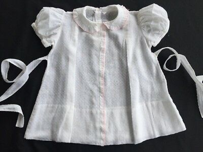 Antique Vintage White dotted swiss-embroidered ruffle  Dress Infant Baby Doll