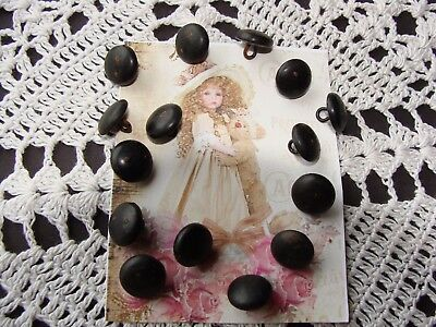 Antique/Victorian black Shoe Boot buttons For Teddy Bear Eyes 14 Lot