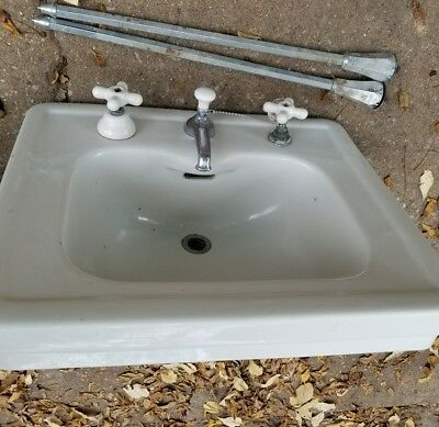 Vintage STANDARD White Ceramic Bathroom Sink  W/ LEGS Plumbing W/  KNOBS LARGE