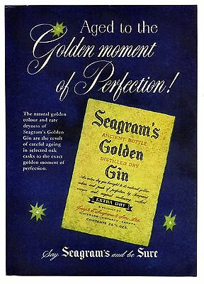 1957 Seagram's Golden Gin Vintage Magazine Print Advertisement