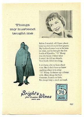 1957 Bright's Wines 74 Sherry Vintage Magazine Print Advertisement