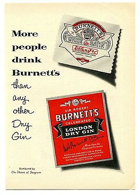 1957 Burnett's London Dry Gin Vintage Magazine Print Advertisement