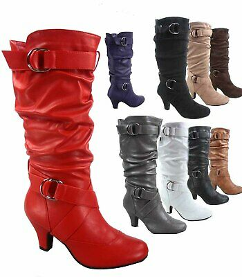 Women's Round Toe Low Heel Zipper Slouchy Mid-Calf Boots Shoes Size 5 - 11 NEW