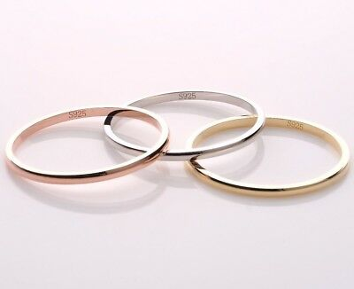 925 Sterling Silver Stacking Round Band Ring 18k Gold Womens Jewellery Gift UK