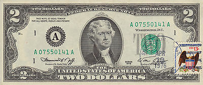 1976 Two Dollar Bill With Cancelled Stamp Verifying Original Issue Date