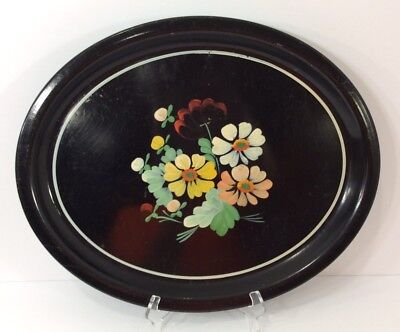 Vintage MidCentury Tole Toleware Metal Serving Tray Floral Hand Painted Ransburg