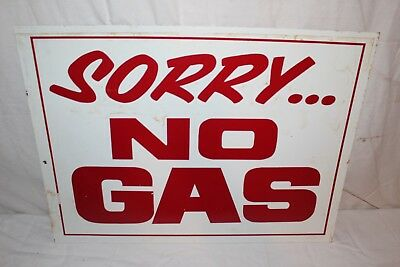 """Vintage 1970's Sorry No Gas 24"""" Metal Sign~Neat 70's Gas Crunch Relic"""