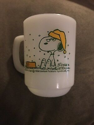 Vintage 1958 Snoopy Anchor Hocking Mug Fire King French Toast