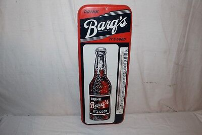 """Vintage 1945 Barq's Root Beer Soda Pop Bottle 26"""" Metal Thermometer Sign"""
