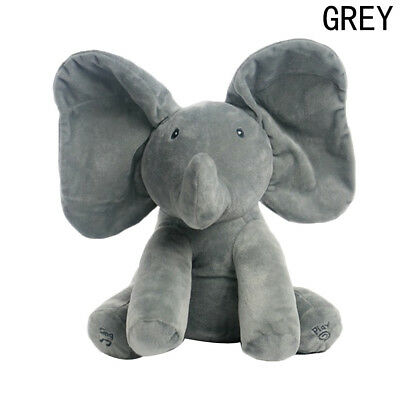Peek-a-Boo Animated Talking and Singing Elephant Baby Kids Educational Toys Gray
