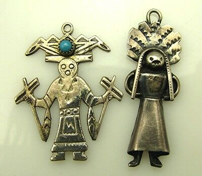 2 Native American Navajo Sterling Kachina Mud Dancers charms